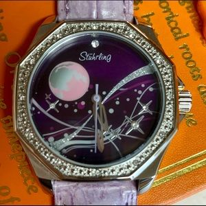STUHRLING ORIGINAL LAVENDER LEATHER BAND WATCH NWT